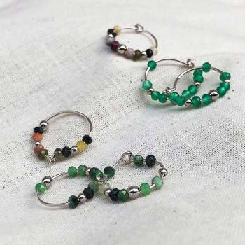 Boucles d'oreilles créoles 15 mm en argent et pierres fines - Bijoux fins et tendances