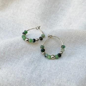 Boucles d'oreilles créoles 15 mm en argent et pierres fines en rubis soizite - Bijoux fins et tendances