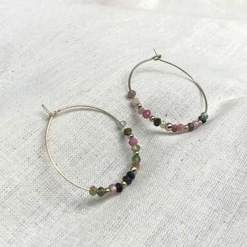 Boucles d'oreilles créoles 30 mm en argent avec pierre fine en tourmaline multicolore - Bijoux fins et modernes