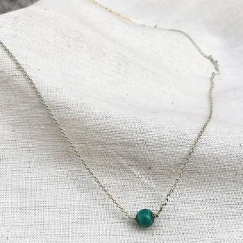 Collier sur chaine en argent pierres rondes malachite verte - Bijoux délicat