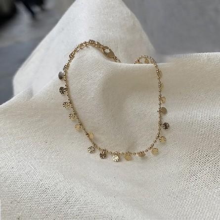Bracelet plaqué or sur chaine boules et minis pampilles ciselées - bijoux fantaisie