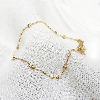 Bracelet sur chaîne en plaqué or et perles à écraser aléatoires - Bijoux délicat