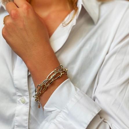 Bracelet grands maillons mousquetons en argent et plaqué or - Bijoux originaux de créateur