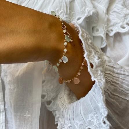 Bracelet plaqué or sur chaine de pierres fines pierre de lune - Bijoux moderne
