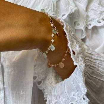 Bracelet plaqué or sur chaine de pierres fines pierre de lune - Bijoux originaux tendances