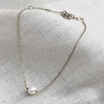 Bracelet sur chaine en argent pierre ronde perle d'eau douce - Bijoux fins et intemporels