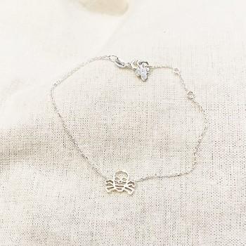 Bracelet tête de mort évidée sur chaine en argent - bijoux fins et fantaisies