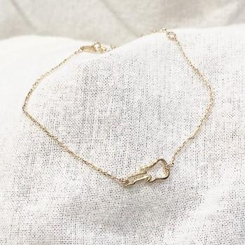 Bracelet guitare évidée sur chaine en plaqué or - bijoux fins et fantaisies