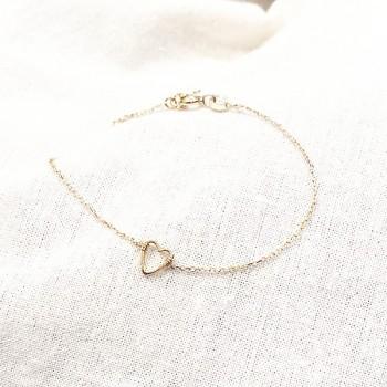 Bracelet coeur évidé sur chaine en plaqué or - bijoux fins et fantaisies