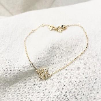 Bracelet trèfle évidé sur chaine plaqué or - bijoux fins et fantaisies