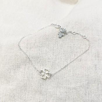 Bracelet trèfle évidé sur chaine en argent - bijoux fins et fantaisies