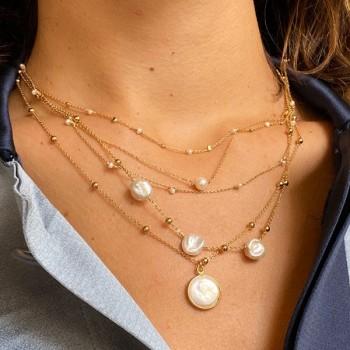 Collier sur chaine plaqué or pierres rondes perle d'eau douce nacrée - Bijoux délicat