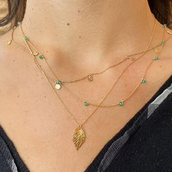 Collier sur chaine en plaqué or orné de minis pierres en agate verte - Bijoux fins et tendances