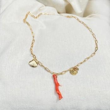 Collier sur chaine à maillons allongés plaqué or pendentifs corail, palourde, pièce de monnaie - Bijoux tendances