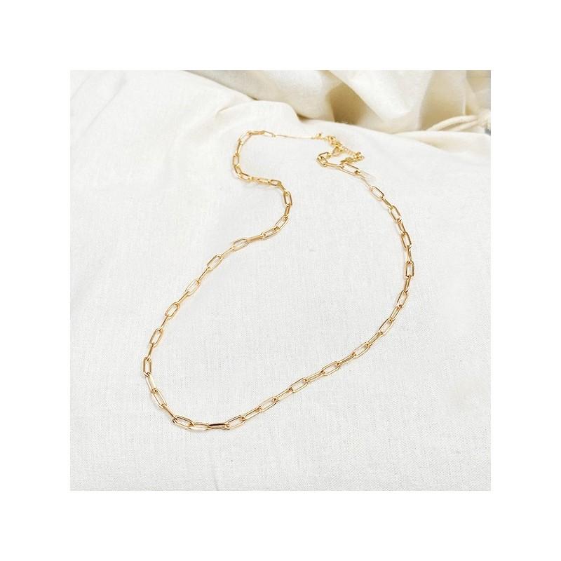 Collier sur chaine à maillons allongés en plaqué or - Bijoux tendance