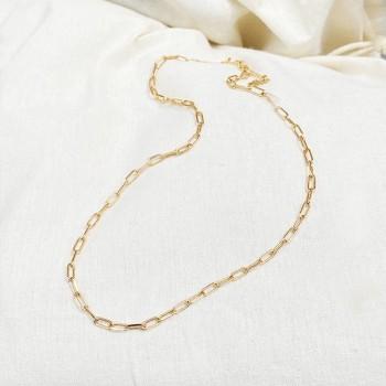 Collier sur chaine à maillons allongés en plaqué or - Bijoux femme tendances