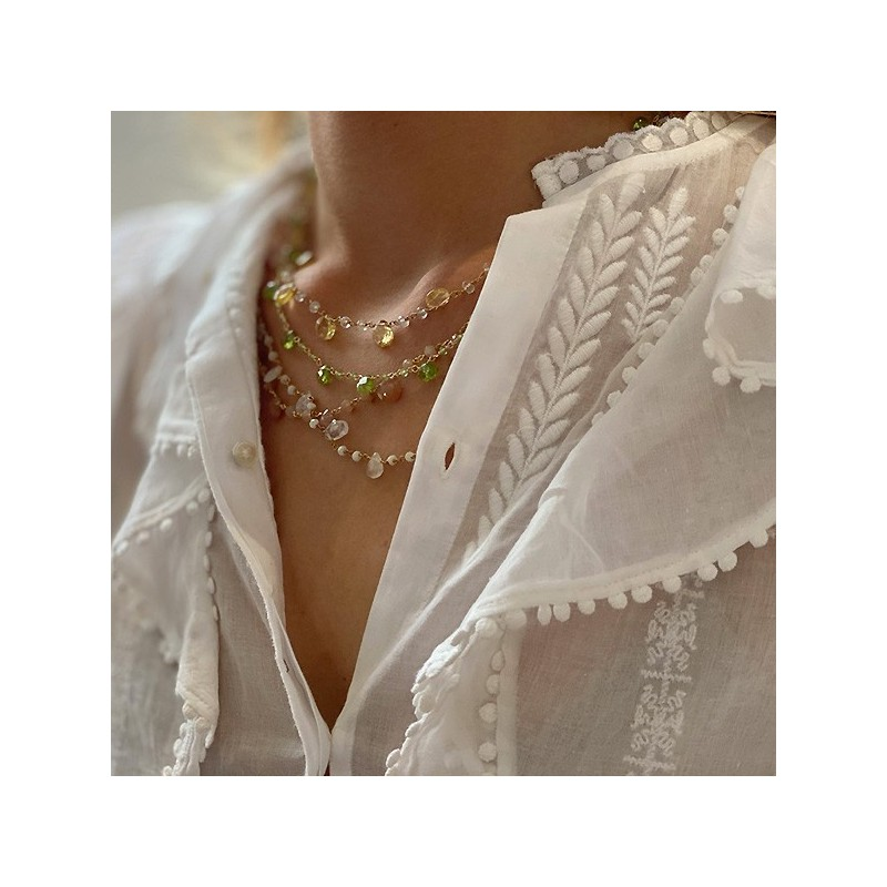 Collier plaqué or sur chaine de pierres fines en pierre de couleurs - Bijoux moderne