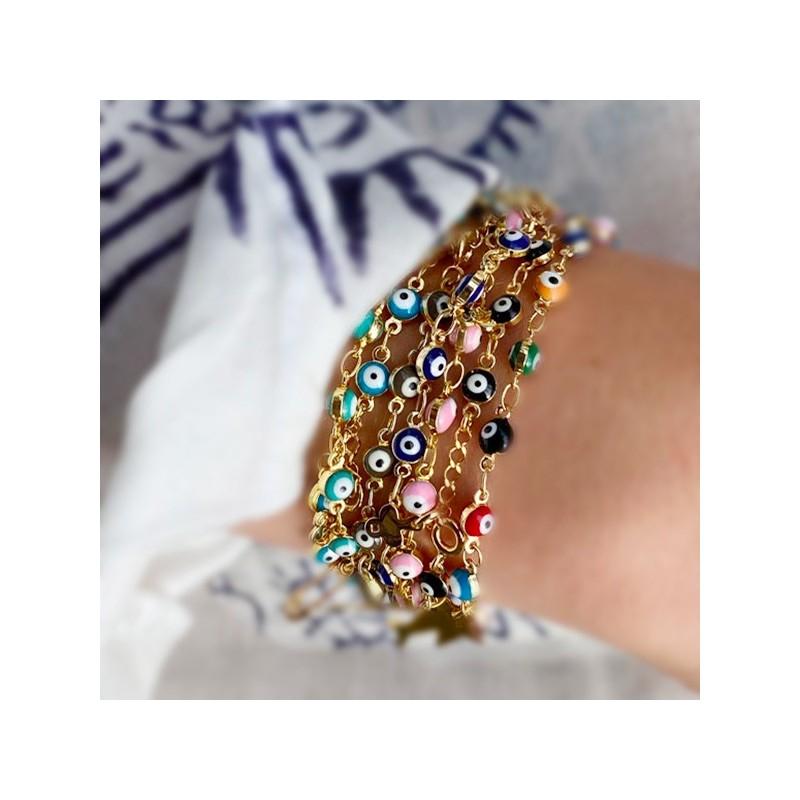 Bracelet sur chaine œil de couleur en plaqué or - Bijoux fins et fantaisies