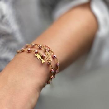 Bracelet sur chaine œil turquoise en plaqué or - Bijoux fins et fantaisies