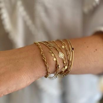 Bracelet sur chaine plaqué or minis médailles martelées - Bijoux tendance