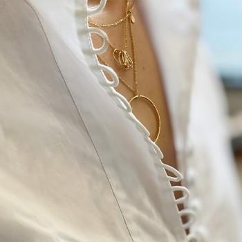 Collier chaine fine pampilles martelées plaqué or - Bijoux fins et intemporels