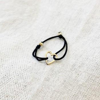 Bague sur lien ajustable breloque coeur en plaqué or - Bijoux fins et fantaisies