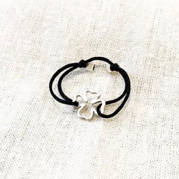Bague sur lien ajustable breloque trèfle en argent - Bijoux fins et fantaisies