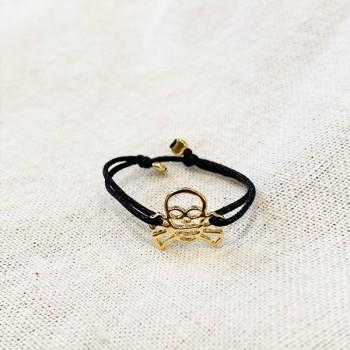Bague sur lien ajustable breloque tête de mort en plaqué or - Bijoux fins et fantaisies