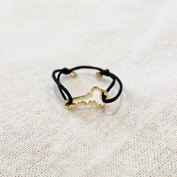 Bague sur lien ajustable breloque clé en plaqué or - Bijoux fins et fantaisies