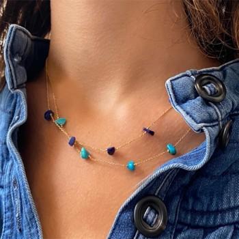 Collier plaqué or 5 pierres fines irrégulières en Turquoise et lapis lazuli - Bijoux fins et tendances