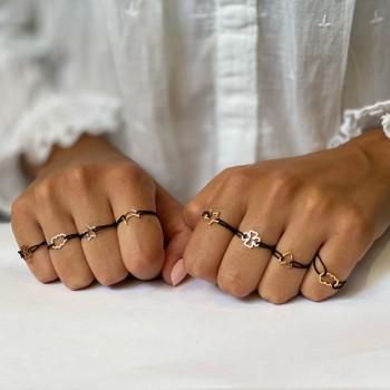 Bague sur lien ajustable breloque croix en argent - Bijoux fantaisie