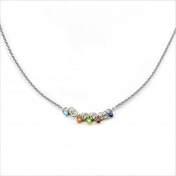 Collier anneaux perlés multicolores sur chaine en argent - Bijoux fantaisie