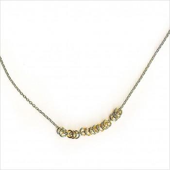 Collier 15 anneaux sur chaine en plaqué or - Bijoux fins et fantaisies