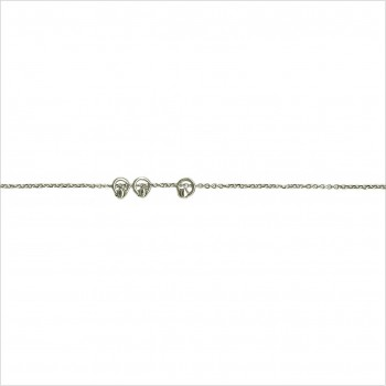 Bracelet sur chaine en argent avec 3 petits anneaux perlés - Bijoux fins et fantaisies