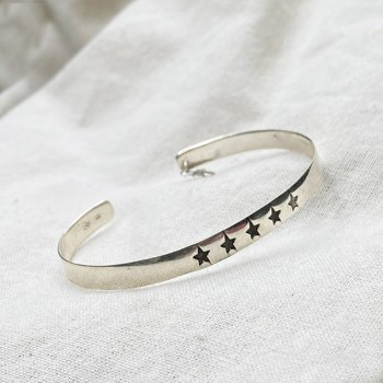 Jonc en argent gravure étoiles ajustable - Bijoux fantaisies de créateur