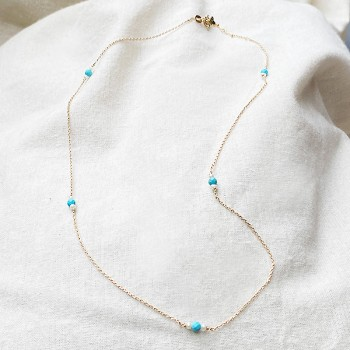Collier sur chaine plaqué or turquoise et perle fines - Bijoux moderne