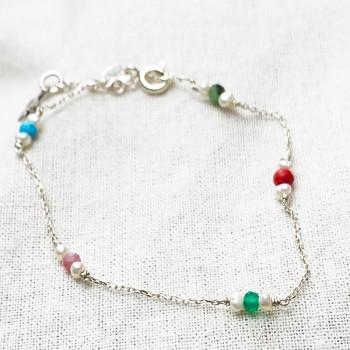 Bracelet Joséphine sur chaine en argent pierres multicolores et perle fines - Bijoux fins et fantaisies