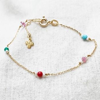 Bracelet Joséphine sur chaine en plaqué or pierres multicolores et perle fines - Bijoux fins et fantaisies