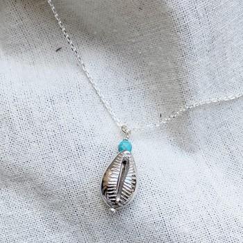 Collier sur chaine coquillage cauris et turquoise en argent - Bijoux fins et tendances