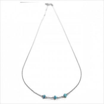 Collier 3 microstones turquoise en argent - bijoux modernes - gag et lou - bijoux fantaisie