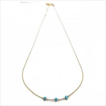 Collier 3 microstones turquoise en plaqué or - bijoux modernes - gag et lou - bijoux fantaisie