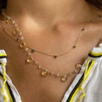 Collier sur chaine en plaqué or orné de minis pierres en diamant noir - Bijoux fins et tendances
