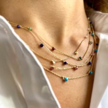 Collier sur chaine en plaqué or orné de minis pierres fines de couleurs - Bijoux fins et tendances