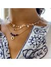 Collier sur chaine en plaqué or pierres fines lapis lazuli médaille ronde martelée - Bijoux fins et tendances
