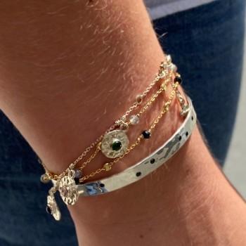 Bracelet sur chaine en argent pampilles martelées pierres colorées - Bijoux fins de créateur