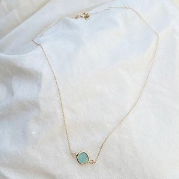 Collier sur chaine plaqué or et pierre sertie turquoise - bijoux fins et tendances