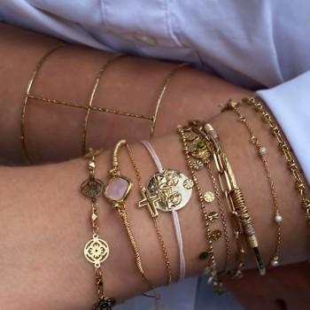 Bracelet lien ajustable couleur rose médaille ange plaqué or - Bijoux fins et fantaisies