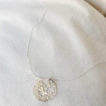 Collier 4 saisons médaille Printemps sur chaine en argent - Bijoux fins et fantaisies