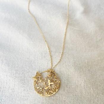 Collier 4 saisons médaille Printemps sur chaine en plaqué or - Bijoux fins et fantaisies