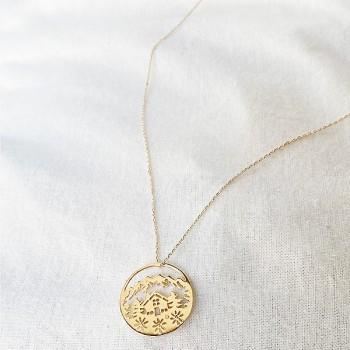 Collier 4 saisons médaille Hiver sur chaine en plaqué or - Bijoux fins et fantaisies